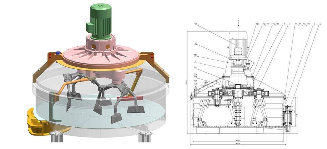 750立轴行星式搅拌机360°无死角搅拌